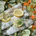 Pieczony sandacz z warzywami