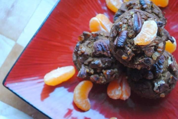 522. Dyniowo- mandarynkowe babeczki korzenne z czekoladą, orzechami, miodem i ricottą