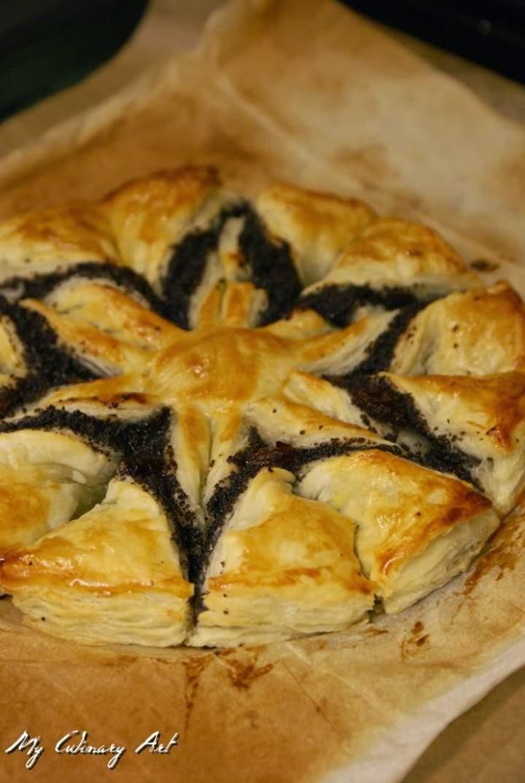Gwiazda z makiem z ciasta francuskiego