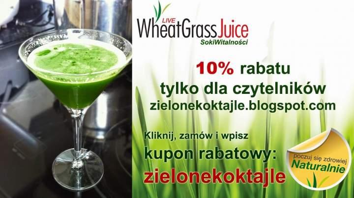 jabłko + ogórek + brokuł + ananas + trawa pszeniczna