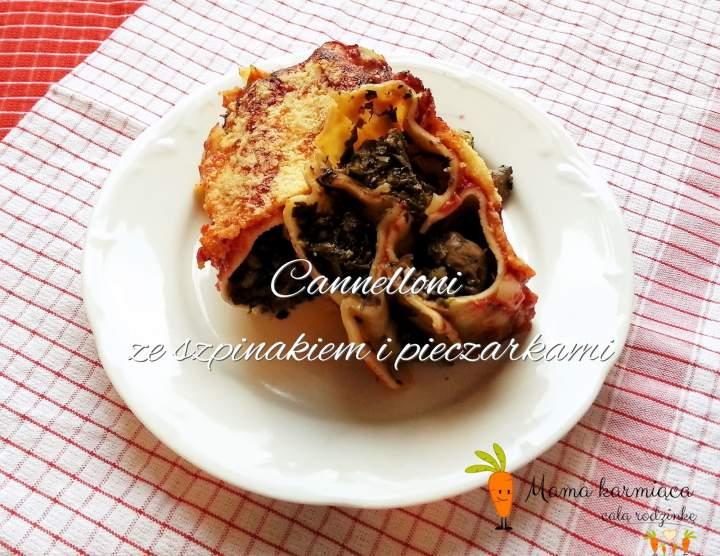 Cannelloni ze szpinakiem i pieczarkami