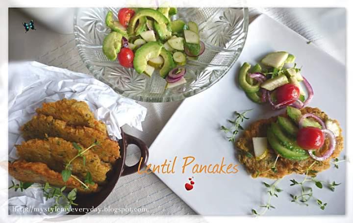 Placki z soczewicą i sałatka z awokado – Lentil Pancakes