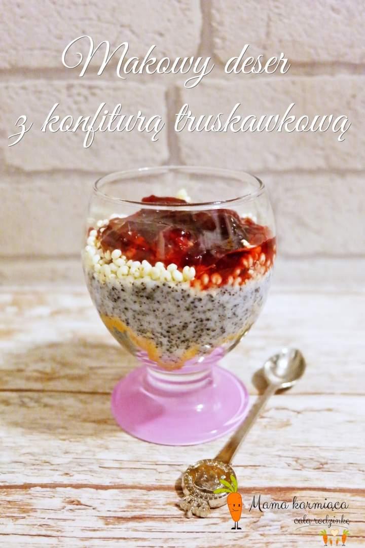 Makowy deser z konfiturą truskawkową
