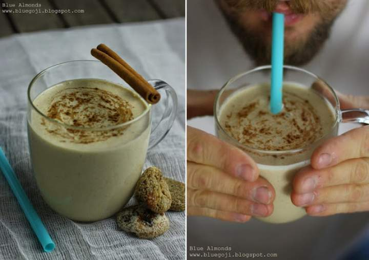 tahini + banan + konopie + mleko migdałowe + figa + cynamon + wanilia + mandarynka + gałka muszkatołowa + kurkuma
