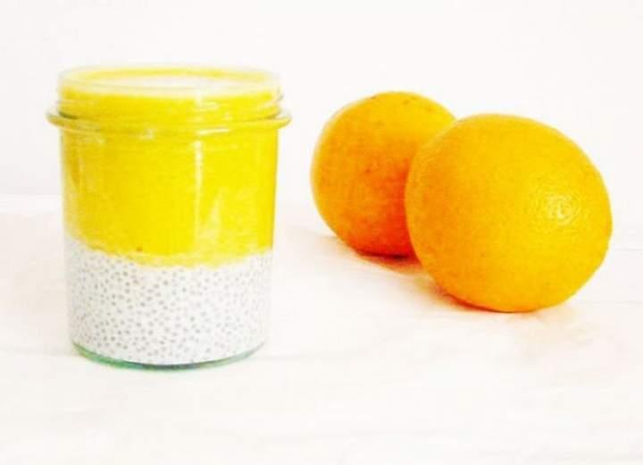 chia + mleko kokosowe + pomarańcza + cytryna