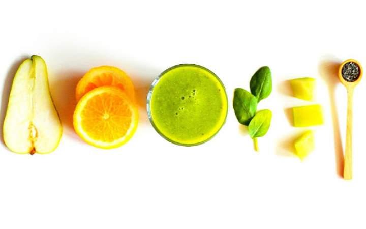 szpinak + gruszka + pomarańcza + melon + cytryna + chia