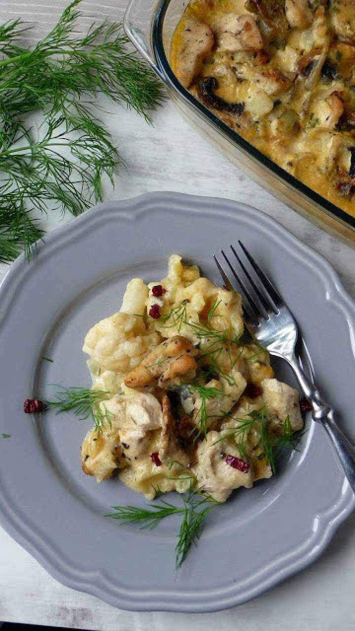 Zapiekanka z kurczakiem i makaronem