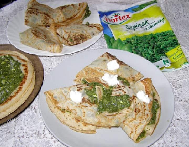zdrowe i smaczne pszenno-żytnie naleśniki ze szpinakiem…