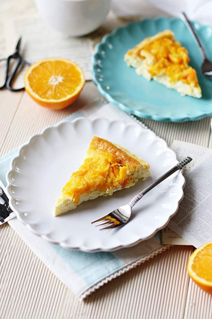 Sernik 3-składnikowy (z białą czekoladą) i smażoną pomarańczą