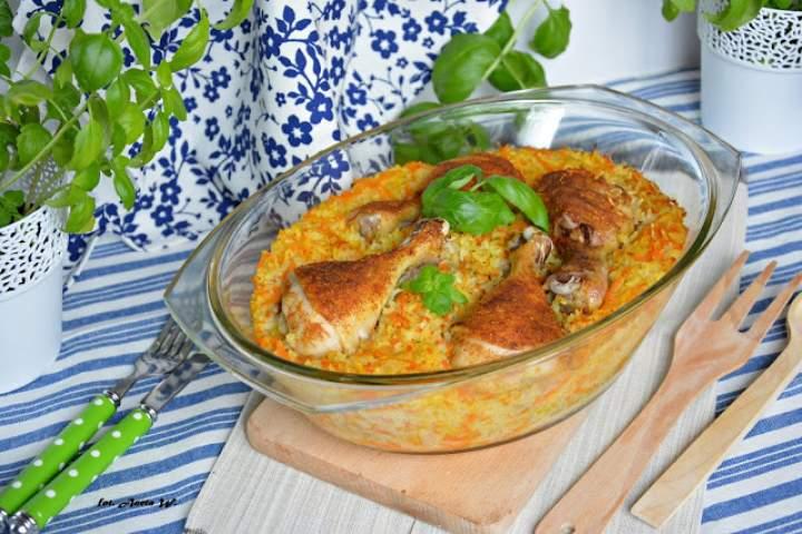 Udka z ryżem i warzywami (jednogarnkowe)