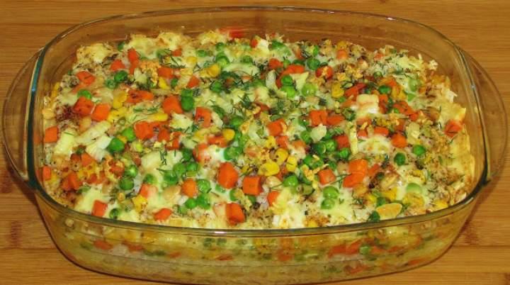 Zapiekanka serowa z ryżem.