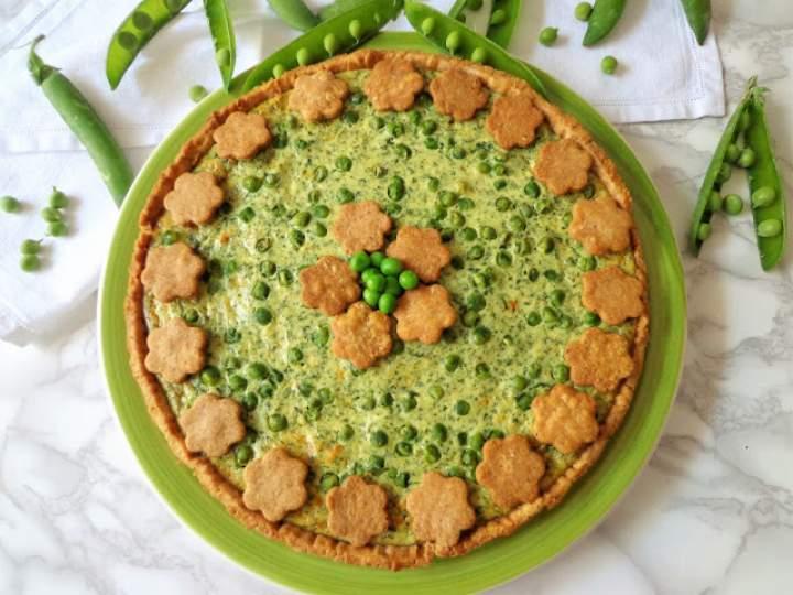 Orzechowa tarta z groszkiem, szpinakiem i ricottą (Quiche con piselli, spinaci, noci e ricotta)