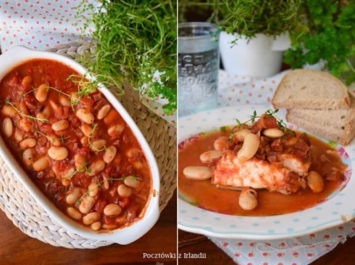 Morszczuk w pomidorach z chorizo i fasolką