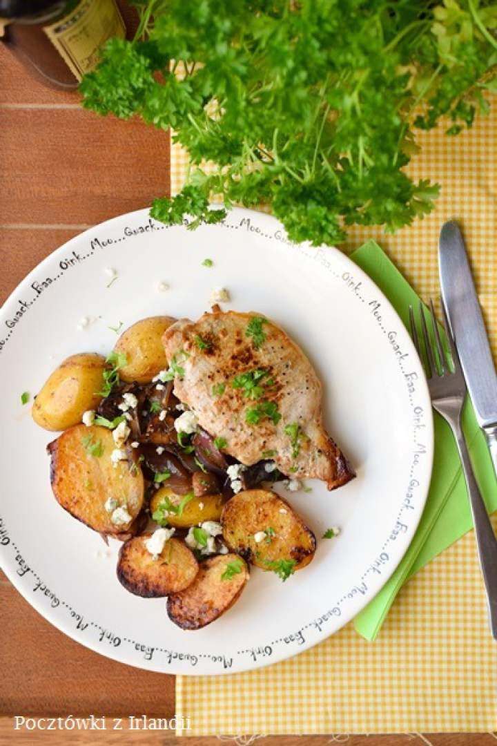 Schabowe pieczone z warzywami w sosie balsamicznym