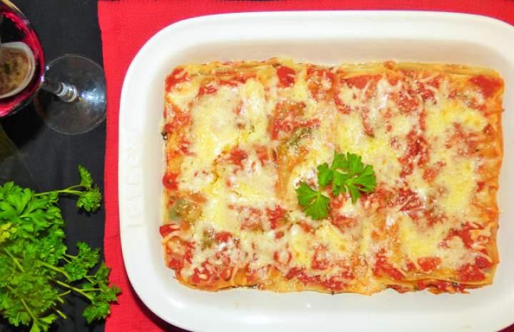 Lasagne ze szpinakiem i pieczarkami