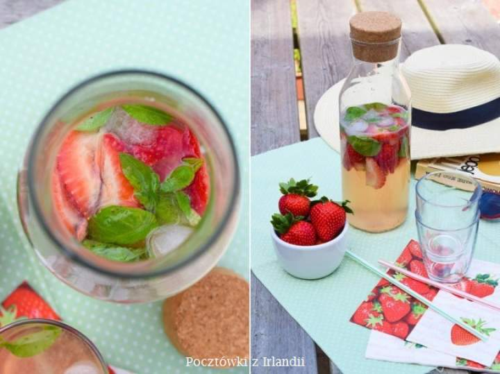 Woda truskawkowa z bazylią