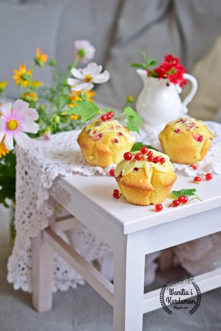 Muffinki z białą czekoladą i porzeczkami
