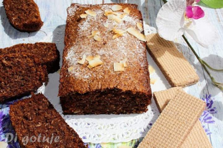 Kakaowo-kokosowe ciasto z wafelków (bez mąki)