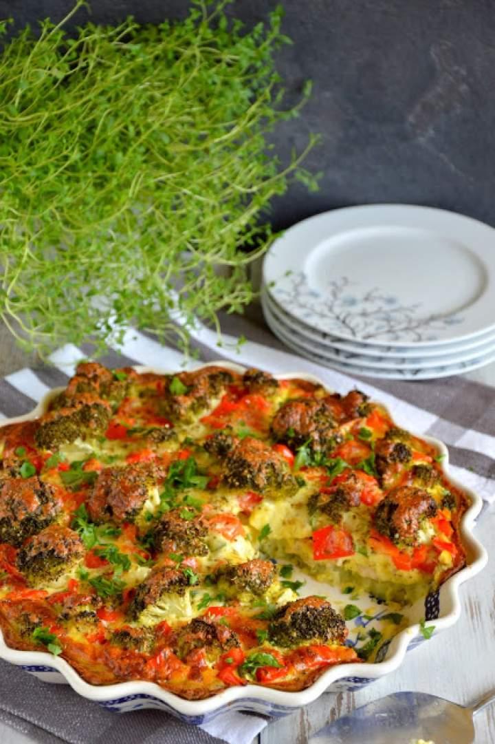 Tarta ziemniaczana z kurczakiem i warzywami