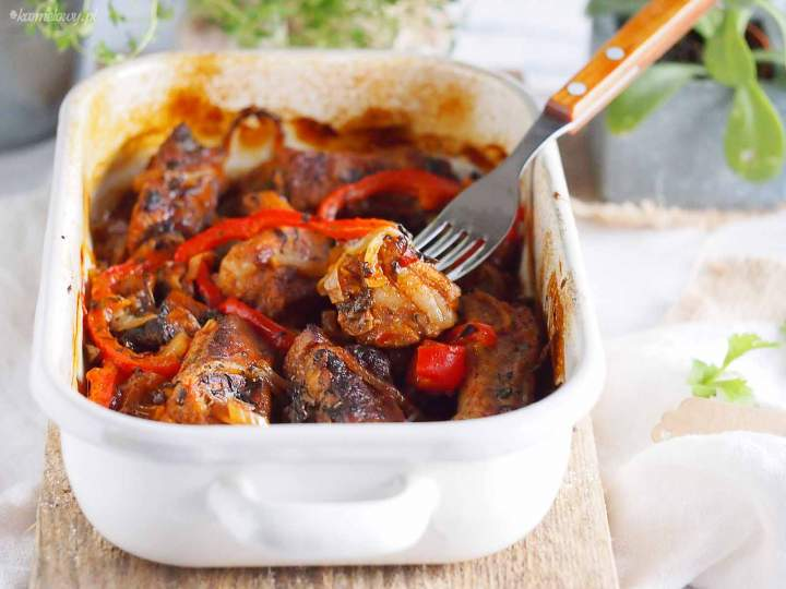 Żeberka pieczone z grzybami i papryką / Baked ribs with mushrooms and bell pepper