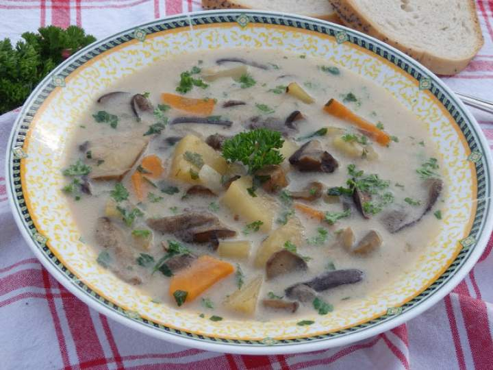 Zupa grzybowa ze świeżych grzybów z ziemniakami