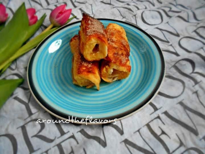Zawijane tosty francuskie z jabłkami
