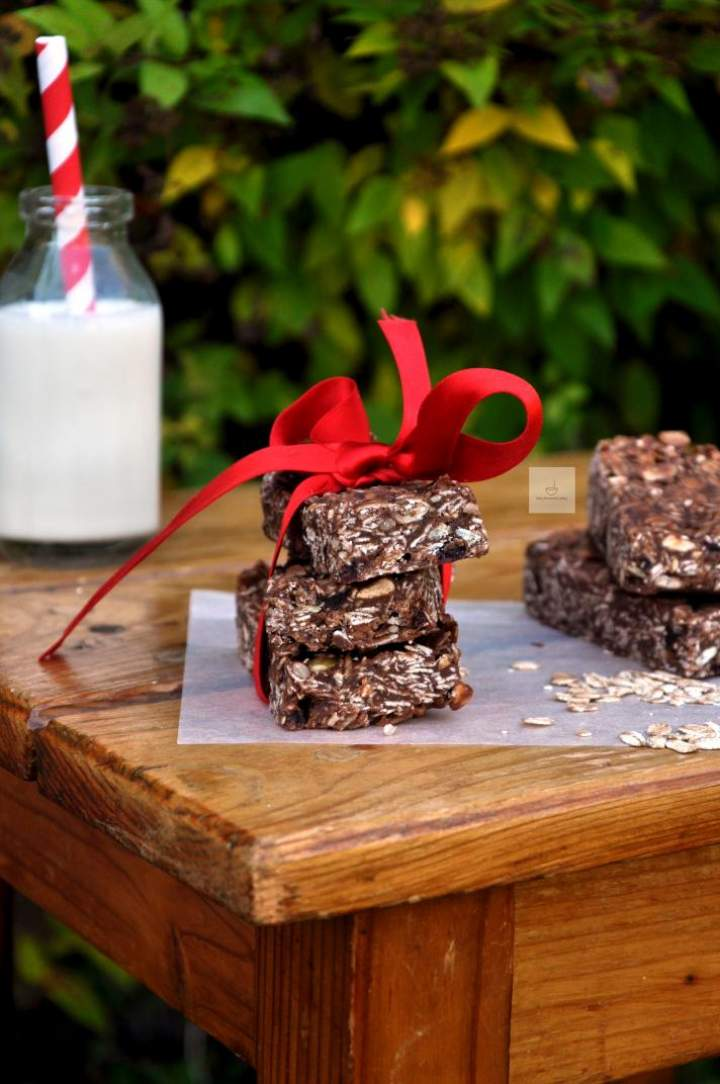 Batony czekoladowo-owsiane z bakaliami