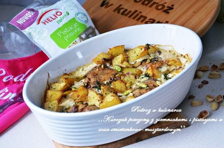 ,,Kurczak pieczony z ziemniakami i pistacjami w sosie śmietankowo-musztardowym''