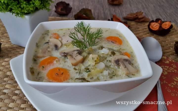 Zupa ogórkowa z pieczarkami i ryżem
