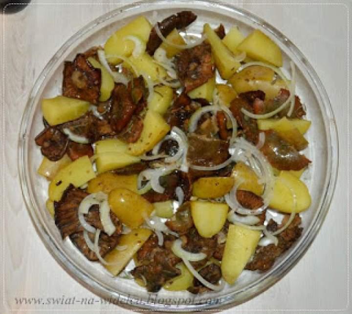 Pieczone ziemniaczki z rydzami i pietruszką