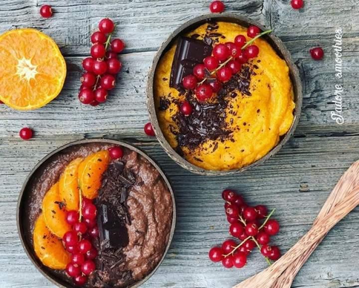 kasza jaglana + kakao + mleko roślinne + syrop klonowy + wiórki kokosowe + pomarańcza + marchew