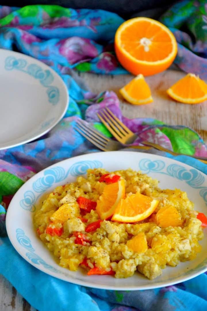Orientalne risotto z kurczakiem i pomarańczą
