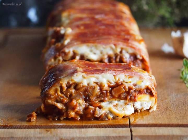 Lasagne mięsno-grzybowe w boczku / Bacon wrapped meat and mushroom lasagna
