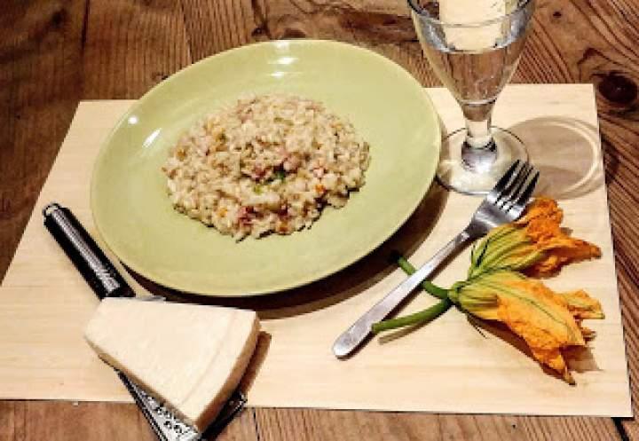 Na początku były kwiatki- czyli kremowe risotto z szynką i kwiatkami dyni