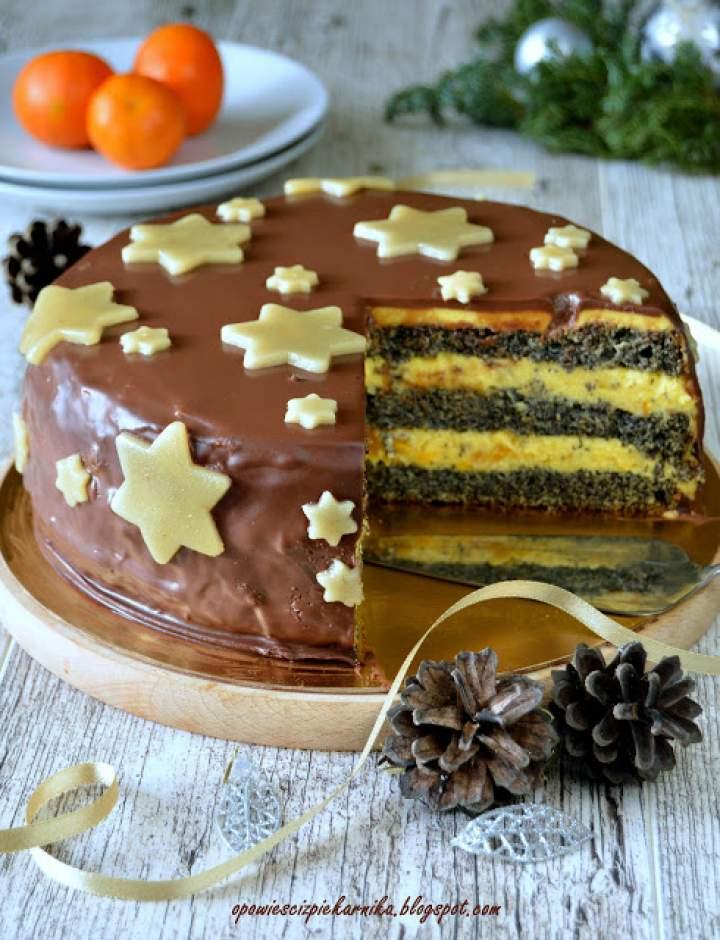 Tort makowo – ajerkoniakowy z nutą cytrusową