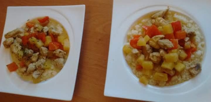 Kuskus curry z indykiem i ananasem