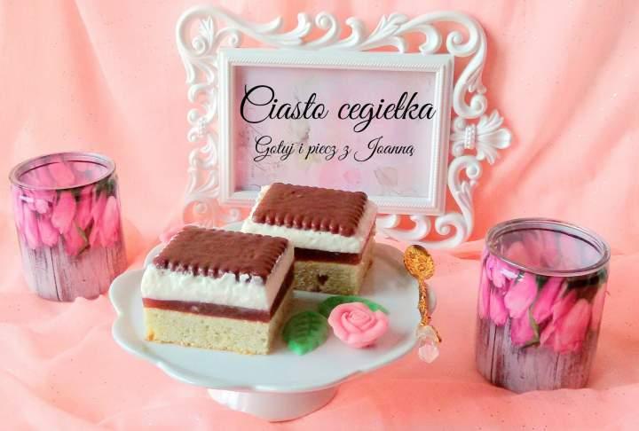 Ciasto cegiełka z budyniem porzeczkowym i kremem śmietanowo-waniliowym