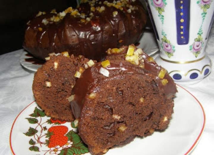 """babka """"murzynkowa"""" na oleju kokosowym z polewą czekoladowo-dżemową…"""