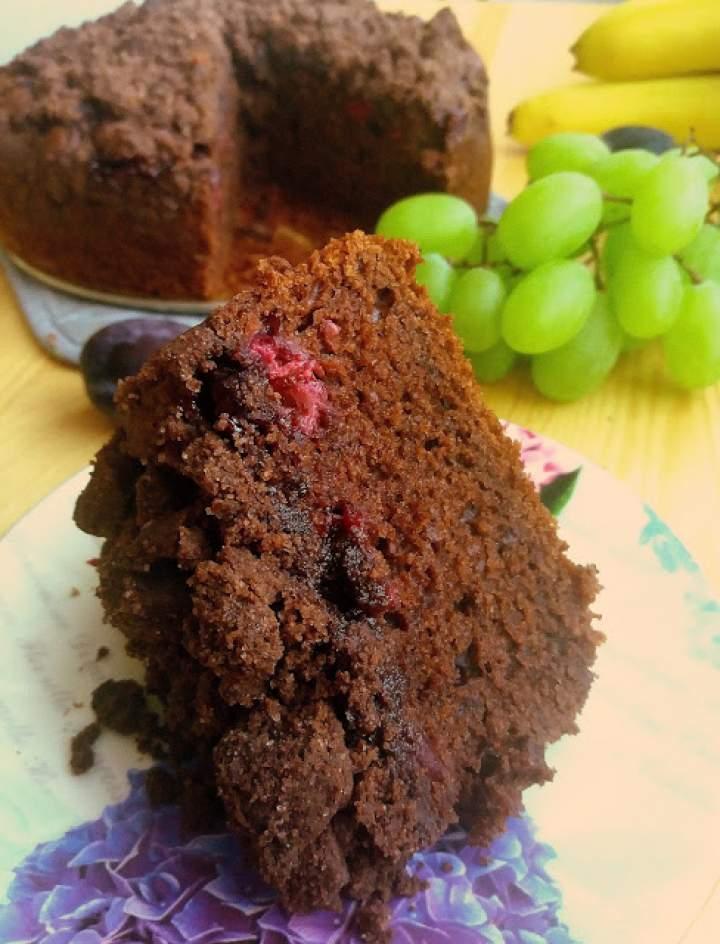 Ciasto z kakao, wiśniami i kruszonką / Cocoa Sour Cherry Crumb Cake
