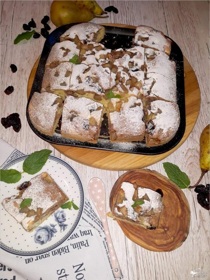 Ciasto waniliowo kakaowe z gruszkami