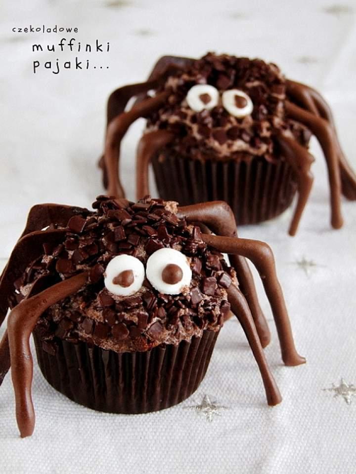 czekoladowe muffinki pająki