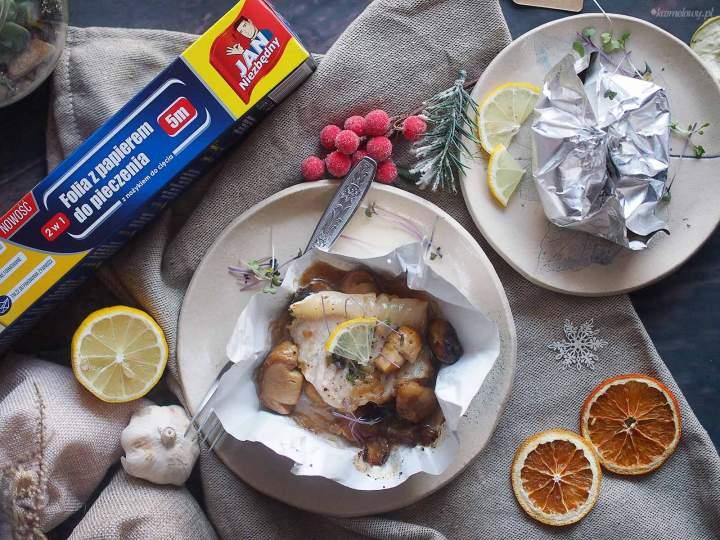 Pakieciki z karpiem i grzybami / Carp and mushrooms en papillote