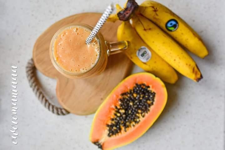 banan + papaja + mleko owsiane + maca
