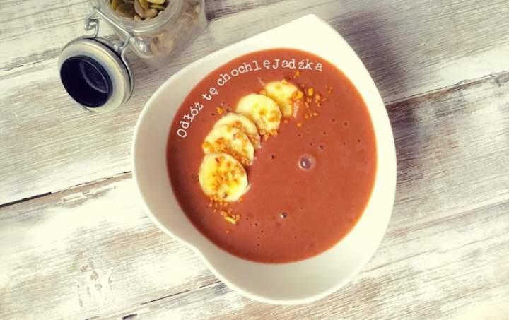banan + kakao + mleko sojowe + miód