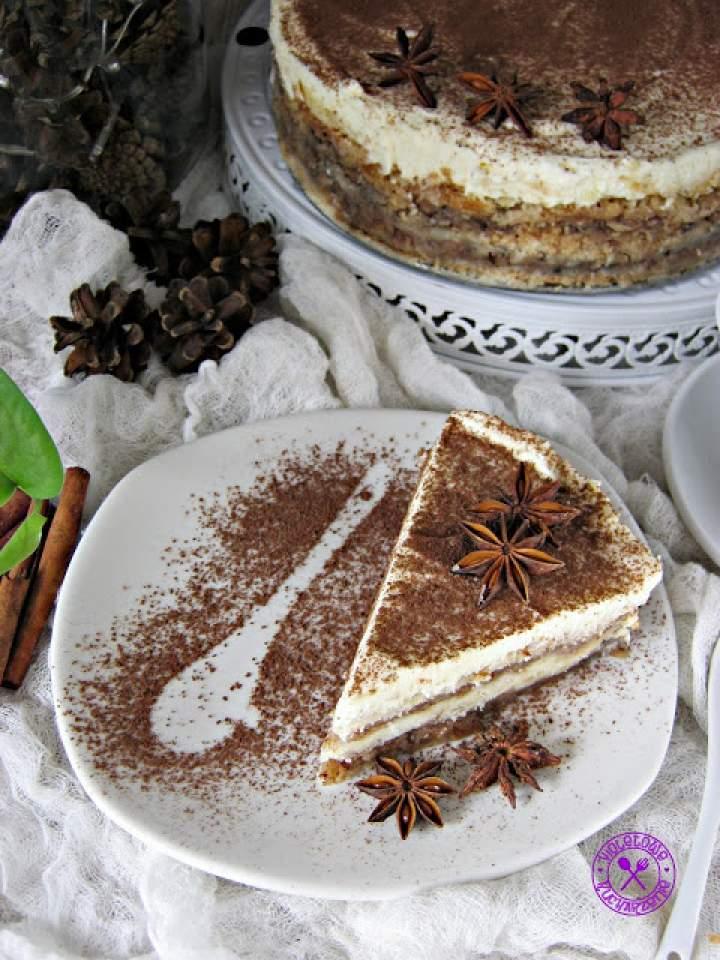Szarlotka piernikowa –  sypana  (z mascarpone i białą czekoladą)