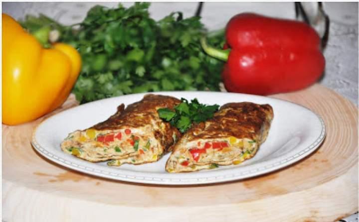 Omlet zwijany z kurkami