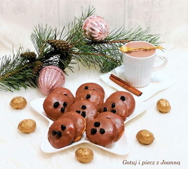 Ciasteczka z kandyzowaną czarną porzeczką i polewą czekoladową-bardzo kruche
