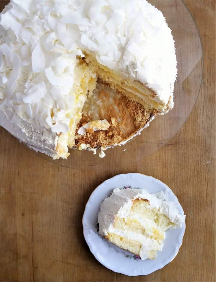 Tort cytrynowo-kokosowy / Lemon Curd and Coconut Birthday Cake