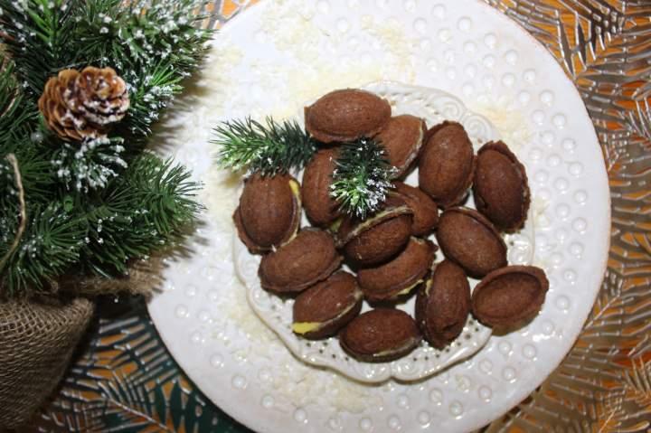 Kakaowe nadziewane orzeszki – świąteczne ciasteczka