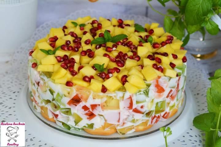 Kryształowy torcik z mango i granatem